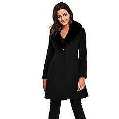 Wallis - Petite Black Faux Fur Collar Coat
