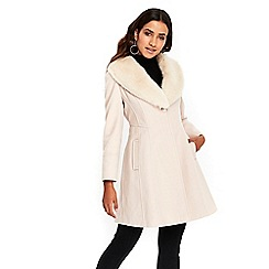 Wallis - Petites nude fur collar fitted coat