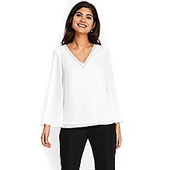 Wallis - Petite ivory embellished v-neck  top