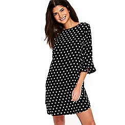 Wallis - Petite spot flute sleeves dress