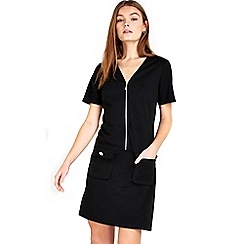 Wallis - Petite Black Zip Front Shift Dress