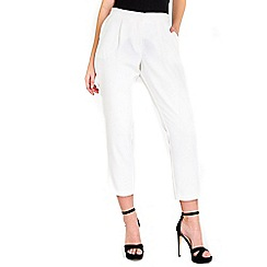 Wallis - Ivory tapered petite trousers