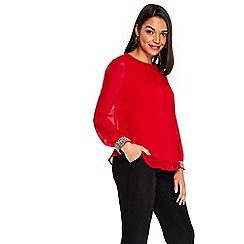 Wallis - Petites red embellished cuff top