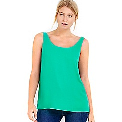 Wallis - Petite green round neck camisole top
