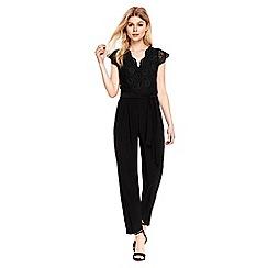 Wallis - Petite black lace top jumpsuit