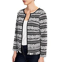 Wallis - Petite monochrome geometric stripe jacket