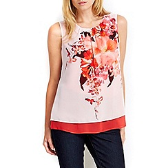 Wallis - Petite coral floral double layer top