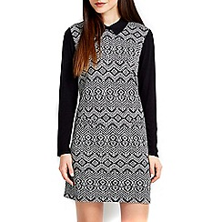 Wallis - Petite monochrome printed 2 in 1 collar dress