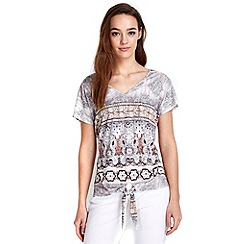 Wallis - Petite tribal tie hem top