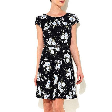 Wallis - Black petite daisy print dress
