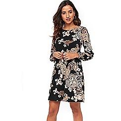 Wallis - Petite black paisley print swing dress