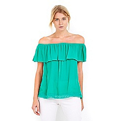 Wallis - Petite green bardot trim top