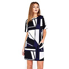 Wallis - Navy geometric printed dress