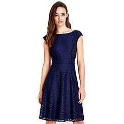 Wallis - Petite navy lace fit and flare dress