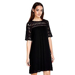 Wallis - Petite black crochet trim dress