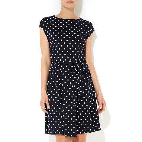 Wallis - Navy blue polka dot petite dress