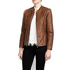 Wallis - Petite tan gothic biker jacket