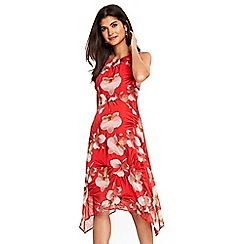 Wallis - Petite coral floral dip hem dress