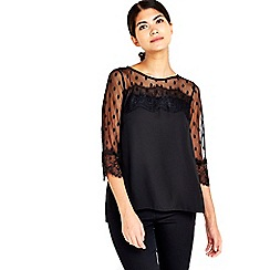 Wallis - Petite black polkadot lace top