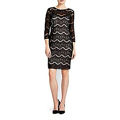 Wallis - Petite black mix match lace dress