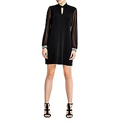 Wallis - Petite black embellished shift dress