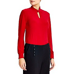 Wallis - Petite red longsleeve polo