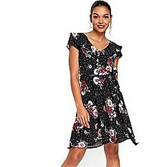 Wallis - Petite black printed fit and flare dress