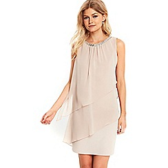 Wallis - Petite mink embellished neck dress