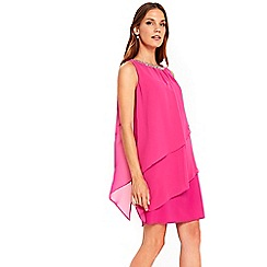 Wallis - Petite pink embellished neck dress