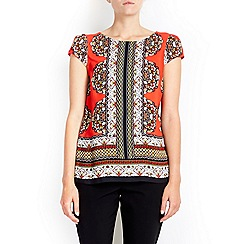 Wallis - Petite print red shell top