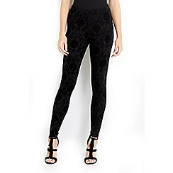 Wallis - Petite black flock baroque legging