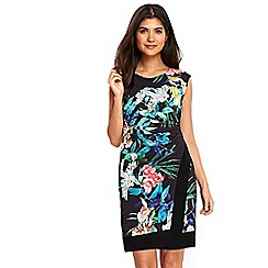 Wallis - Petite black tropical floral ruche side dress