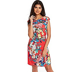 Wallis - Petite pink tropical floral ruche side dress