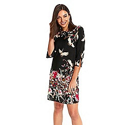 Wallis - Petite black oriental floral shift dress