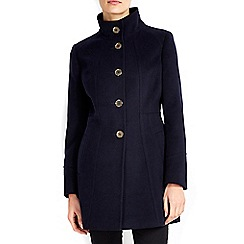 Wallis - Petite navy funnel neck coat
