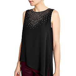 Wallis - Petite black embellished top