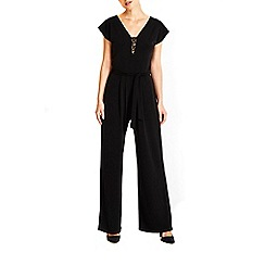 Wallis - Petite black lace insert jumpsuit