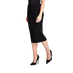 Wallis - Petite black midi skirt