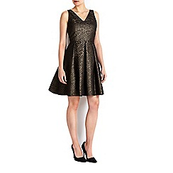 Wallis - Petite gold jacquard prom dress