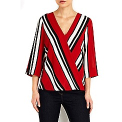 Wallis - Petite stripe wrap top