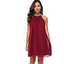 Wallis - Petite berry embellished neck swing dress