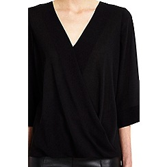 Wallis - Petite black wrap top