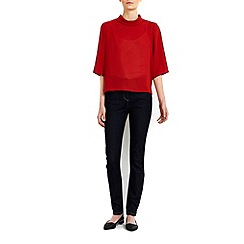 Wallis - Petite rust roll neck top