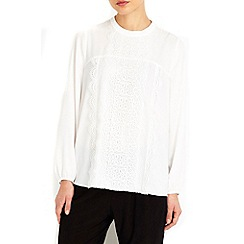 Wallis - Petite cream lace panel blouse