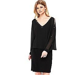 Wallis - Petite black embellished overlayer dress