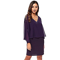 Wallis - Petite purple embellished overlay dress