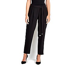 Wallis - Petite black belted jogger trousers