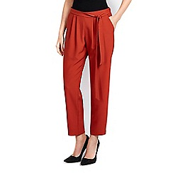 Wallis - Petite rust belted jogger trousers