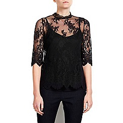 Wallis - Petite black high neck lace top