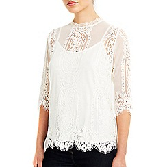 Wallis - Petite ivory high neck lace top